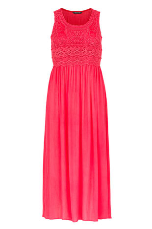 Crochet Front Crinkle Maxi Dress