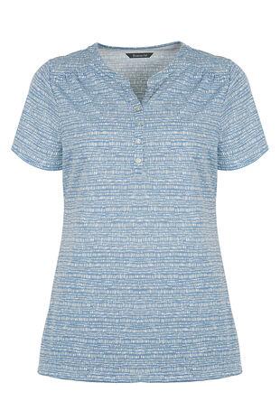 Tile Print Stand Collar T-Shirt