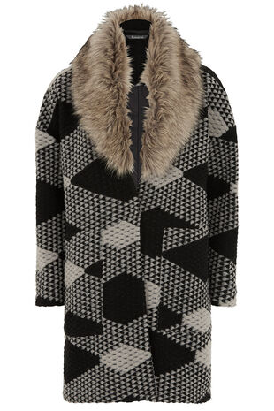 Jacquard Coatigan with Faux Fur Collar