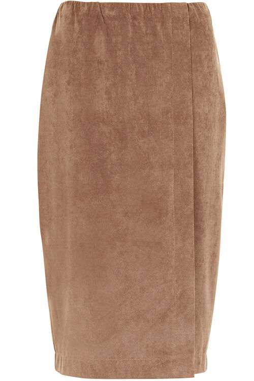 Wrap Front Faux Suede Skirt