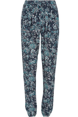 Patchwork Print Crepe Harem Trousers