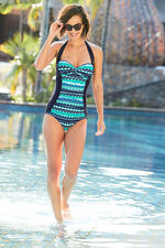 Abstract Print Ruched Front Swimsuit