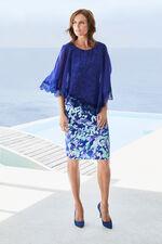David Emanuel Chiffon Cape Fitted Dress