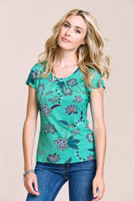 Paisley Floral Print Scoop Neck Top