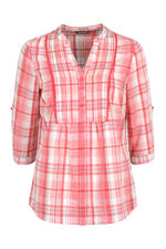 3/4 Sleeve Check Linen Mix Blouse