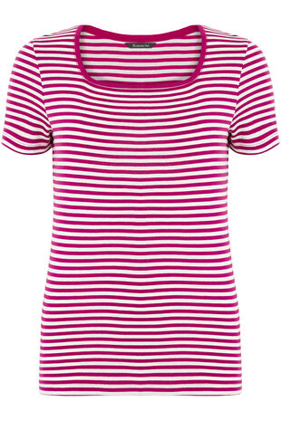 Pure Cotton Square Neck Stripe T-Shirt