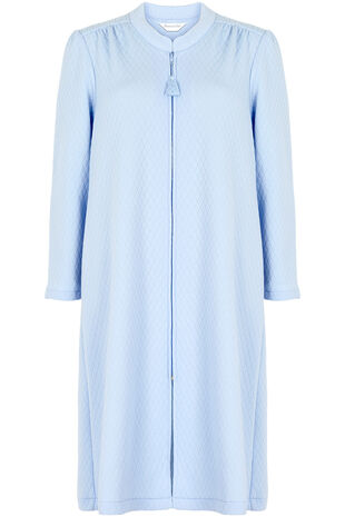 Blue Zip Front Quilted Gown