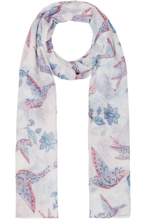 Bird and Floral Print Scarf