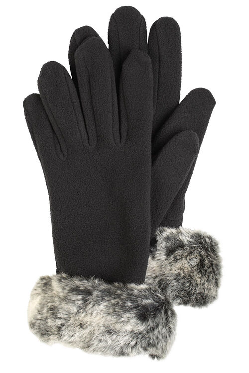 Fur Trim Fleece Gloves