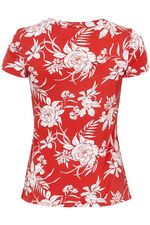 Bold Floral Print V Neck Short Sleeve Top