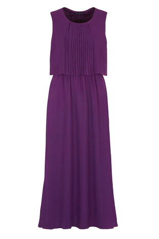 David Emanuel Pleated Double Layer Maxi Dress