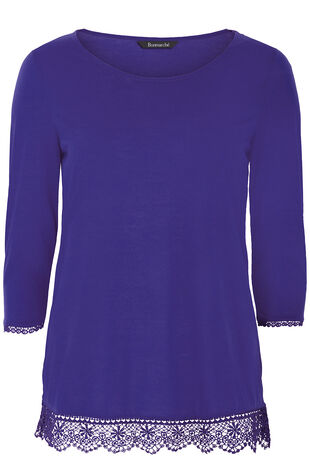 3/4 Sleeve Lace Trim Top