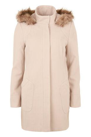 Coat With Faux Fur Trim