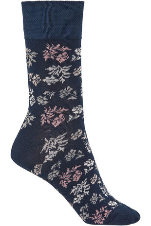 Navy Floral Socks
