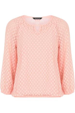 Spot Pattern Textured 3/4 Sleeve Blouse