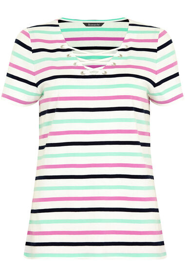 Stripe Lace Up T-Shirt