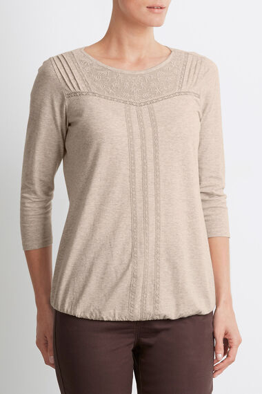 Cotton Lace and Pleat Detail T-Shirt