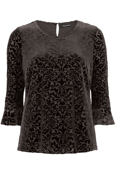 Textured Velour Fluted Sleeve Top