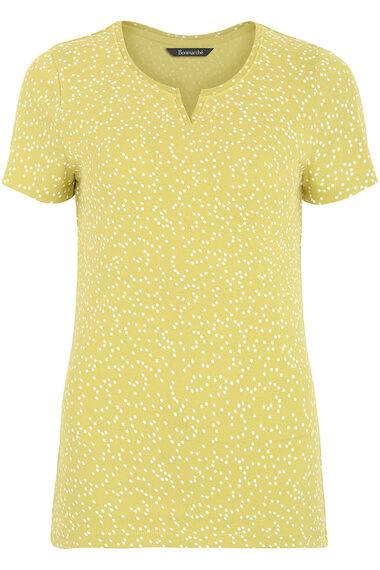 Short Sleeve V-Notch Neck Print T-Shirt