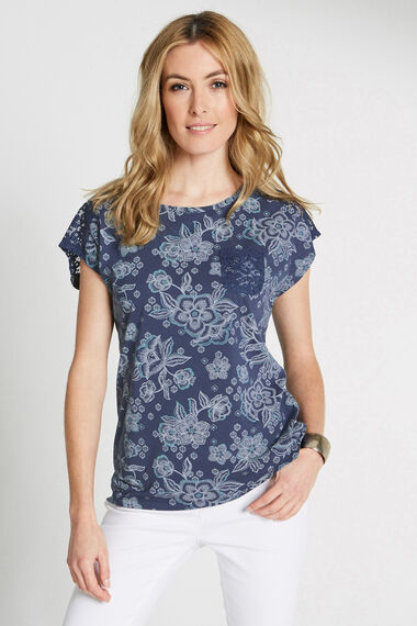Floral Print Lace Trim T-Shirt