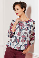 Floral And Glitter Print Bubble Hem Blouse