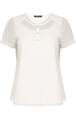 Crochet Lace Sleeve T-Shirt
