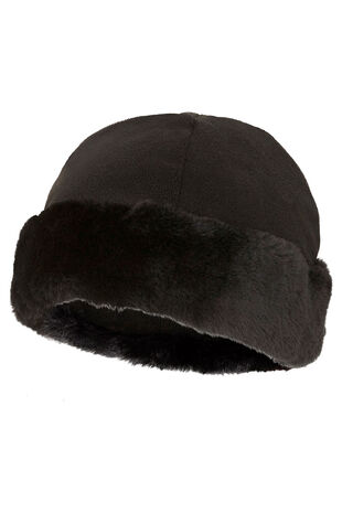 Faux Fur Trim Fleece Hat
