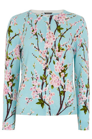 Orchid Print Button Front Cardigan