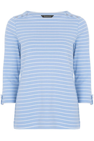 Button Detail Stripe T-Shirt