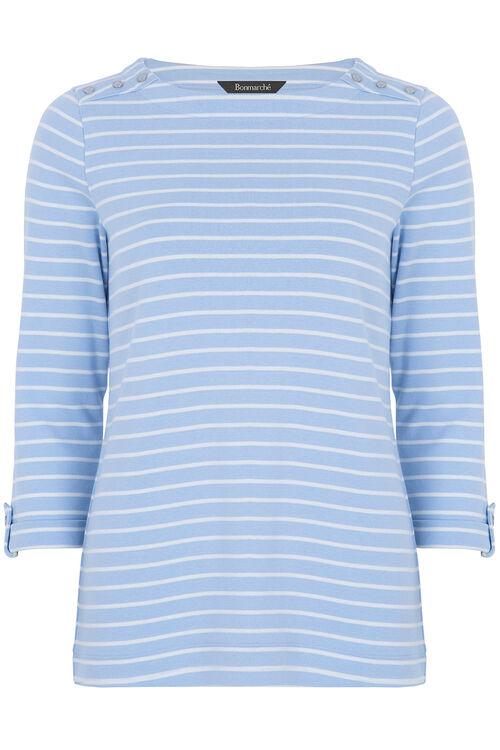 Button Detail Stripe T-Shirt