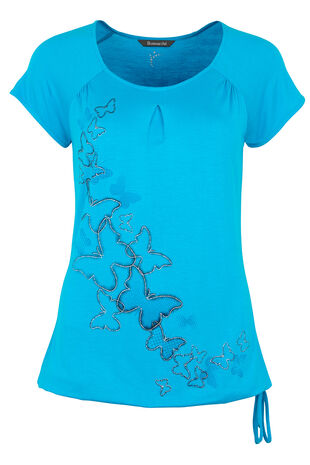 Activewear Pleat Detail Printed T-Shirt