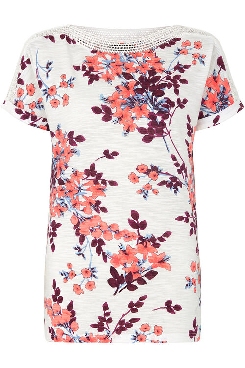 Floral Print Lace Neckline T-Shirt
