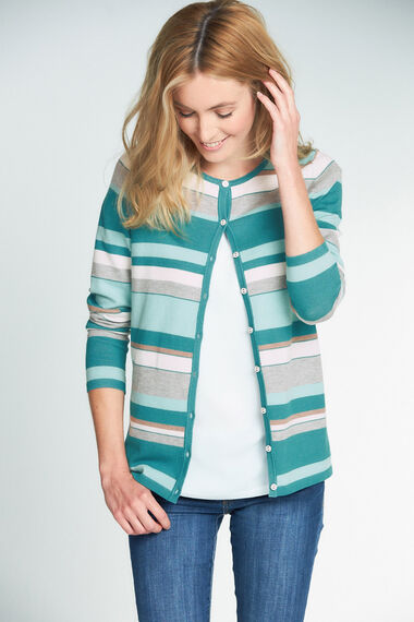 Striped Button Through Cardigan