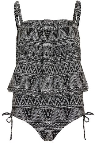 Tribal Print Blouson Swimsuit
