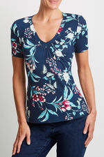 Printed V Neck Gathered Top