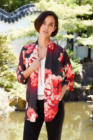Large Floral Print 3/4 Sleeve Cover Up