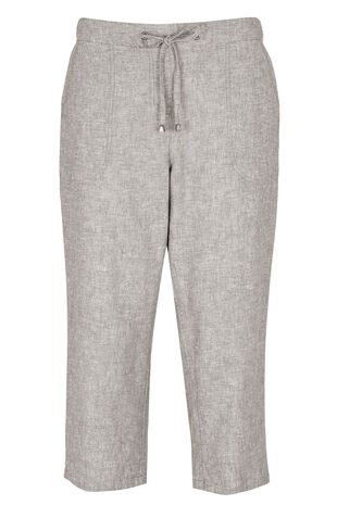 Linen Cross Dye Cropped Trousers