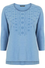 Relaxed Fit Embroidered Cotton Jersey Top