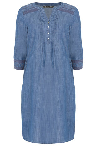 Denim Dress with Broderie Trim