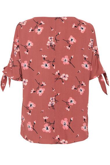 Cold Shoulder Blossom Print Top