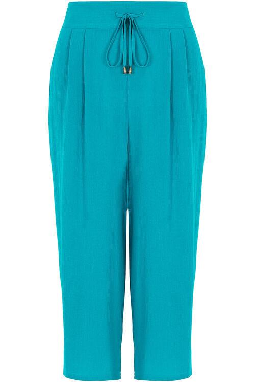 Crinkle Wide Leg Cropped Trousers