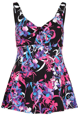 Trailing Flower Print Swim Dress
