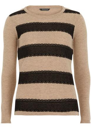 Lace Jacquard Stripe Sweater