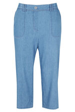 Chambray Cotton Cargo Cropped Trousers