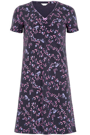 Bird Leaf Print Nightshirt