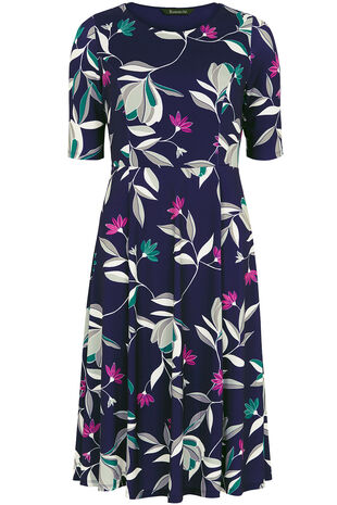 Graphic Floral Print Fit and Flare Dress