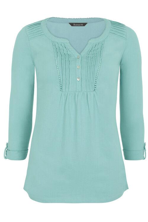 Cotton Pleat Detail T-Shirt