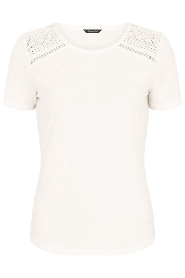 Textured Jersey Short Sleeve Top With Crochet Insert