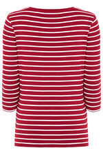 Stripe Floral Mirror Placement T-Shirt