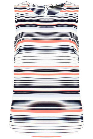 Sleeveless Stripe Print Crepe Top